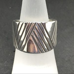 Wide (tapered) sterling silver band